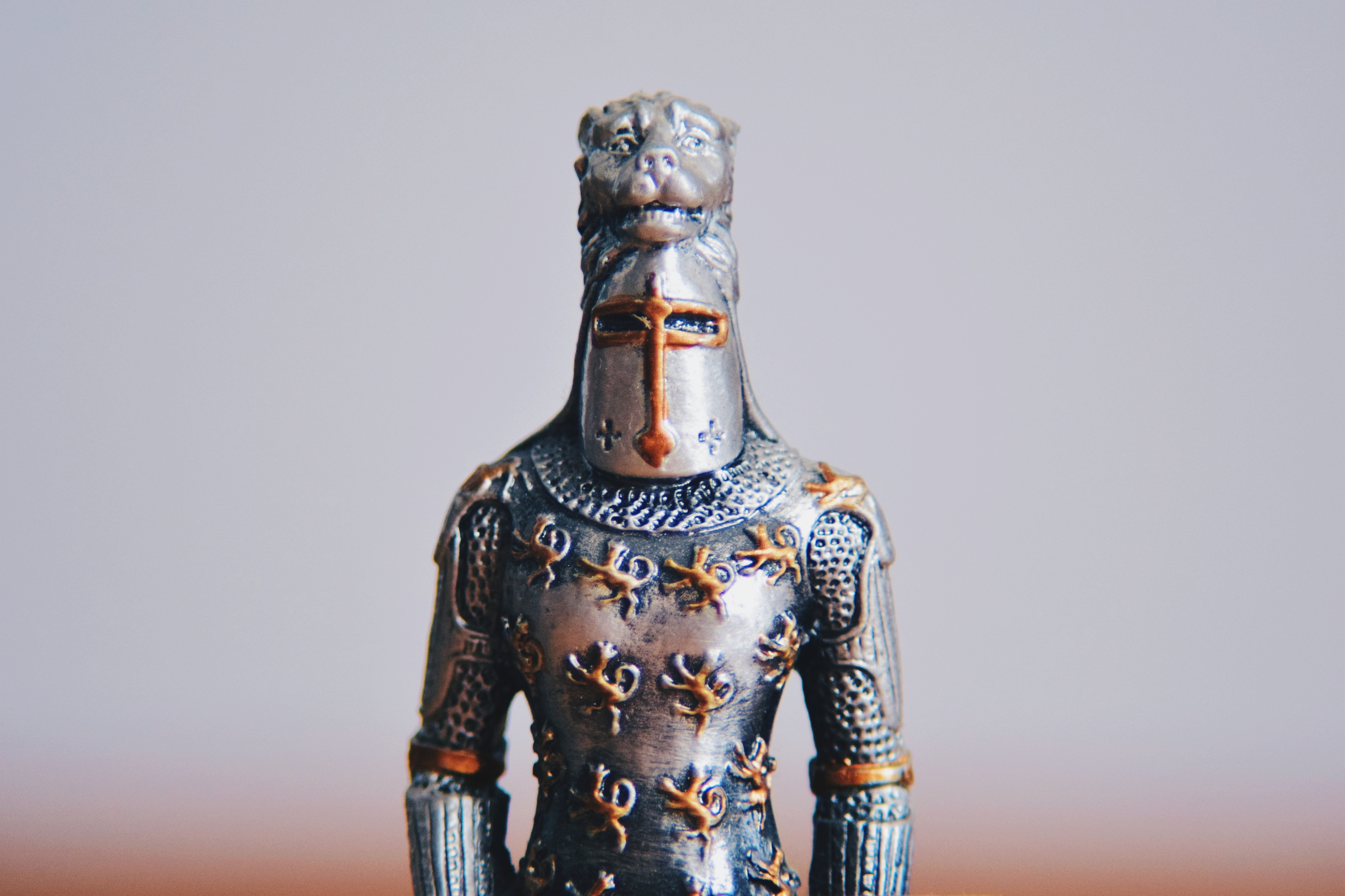 Silver knight with lion headpiece and gold engraved lions